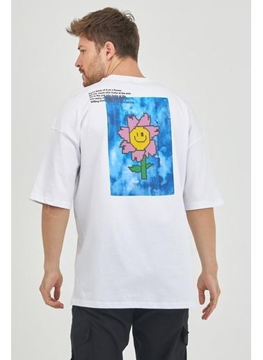 XHAN Kırmızı Önür & Arkası Baskılı Oversize T-Shirt 1Kxe1-44630-04 Beyaz